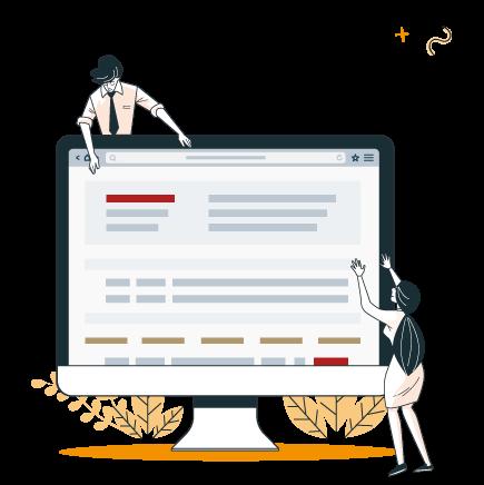 illustration d'un homme et une femme avec un écran d'ordinateur qui montre l'outil de gestion des inscriptions aux activités MJC