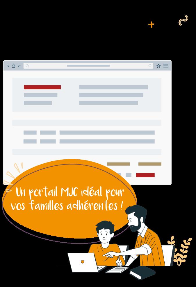 illustration d'un père de famille et son fils en train de s'inscrire en ligne à des activites mjc sur le portail mjc de linscription.com