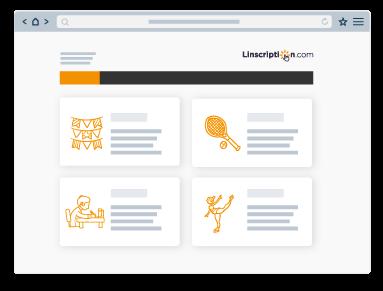 representation graphique simplifie du tableau de bord de l'outil de gestion d'inscriptions en ligne linscription.com