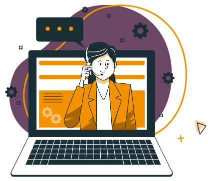 illustration d'une femme du service client, commercial à l'écran d'un ordinateur