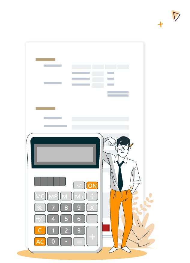 """illustration d""""un homme avec une calculatrice devant un formulaire d'inscription pour configurer les tarifs d'un événement en ligne"""