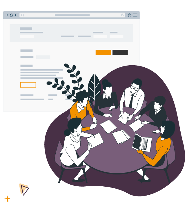 illustration d'une reunion d'un club d'affaires autour d'une table avec en fond l'outil de gestion d'inscriptions en ligne club d'affaires