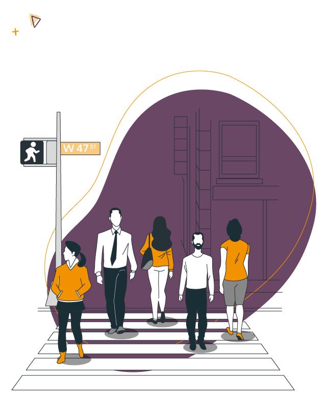 illustration d'un passage piéton avec des citoyens d'une collectivité
