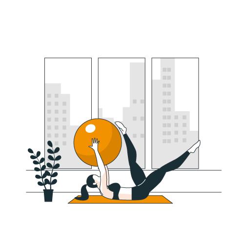 illustration d'une femme qui fait du yoga, elle s'est inscrite en ligne à cette activité par le portail mjc