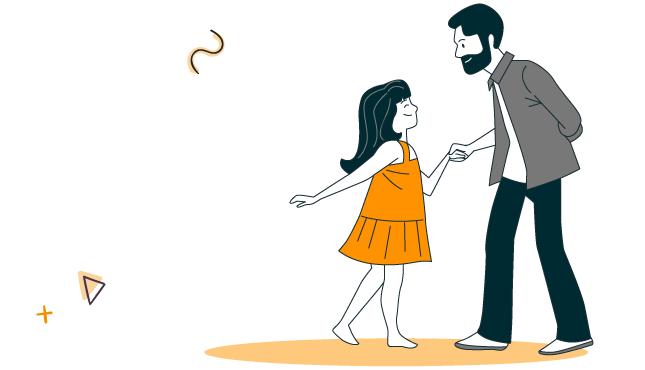 illustration d'une enfant avec son père qui vont s'inscrire aux activités du portail mjc linscription.com