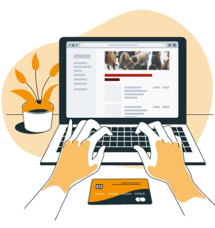 illustration d'une personne sur un ordinateur qui paye en ligne son inscription à un événement