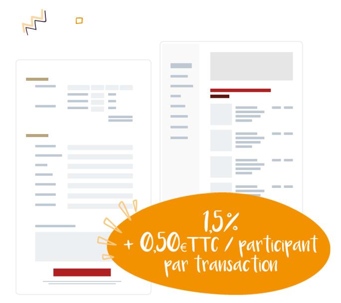representation graphique simplifie d'un formulaire d'inscription en ligne avec le paiement en ligne pour s'inscrire à un événement