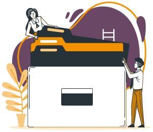 illustration d'un homme et d'une femme qui consultent les différentes formules et tarifs de linscription.com