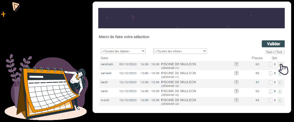 illustration d'un calendrier et des solutions pour la réouverture des activités après covid 19 avec la prise de rendez-vous en ligne sur linscription.com