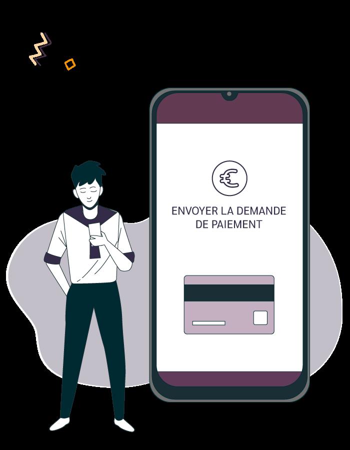 illustration d'un homme sur son téléphone qui envoi une demande de paiement avec la solution clic and pay linscription.com