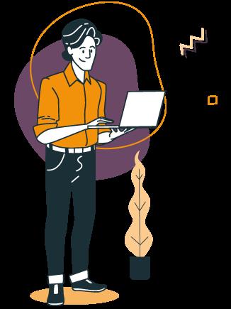 illustration d'un homme sur un ordinateur sur la solution de gestion d'inscriptions en ligne