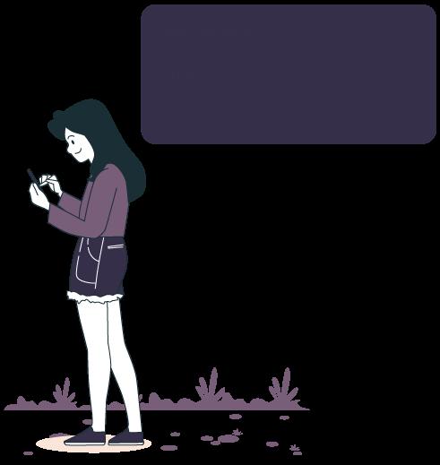 illustration d'une femme qui reçoit par sms sa confirmation d'inscription à son rdv